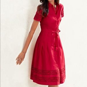 NWT Talbots red embroidered eyelet midi shirtdress